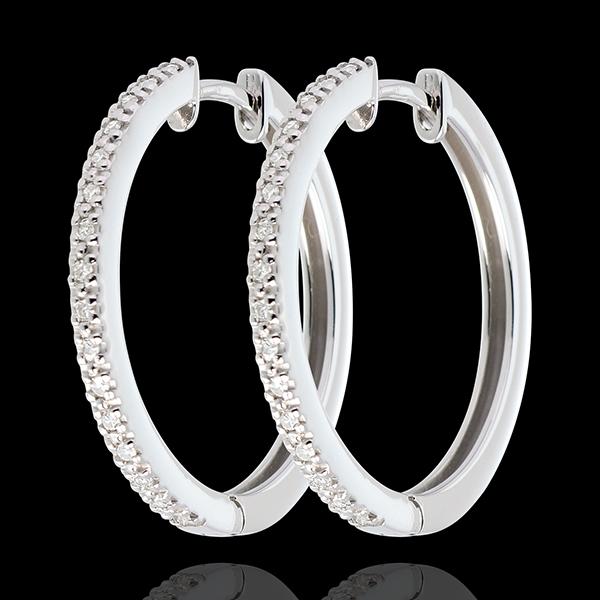 Kolczyki półkola z białego złota 18-karatowego wysadzane diamentami - 32 diamenty