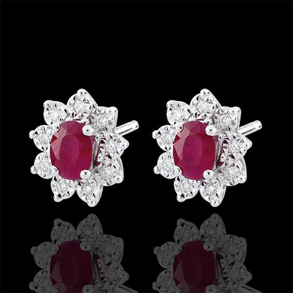 Kolczyki Ponadczasowa Szarotka - Margerytka Iluzja - rubiny i diamenty - złoto białe 9-karatowe