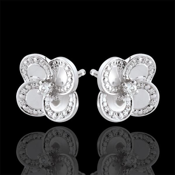 Kolczyki Rozkwit - Biała Koniczyna - złoto białe 9-karatowe i diamenty