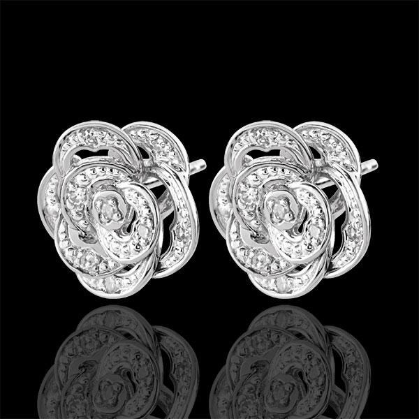 Kolczyki Rozkwit - Koronkowa Róża - złoto białe 9-karatowe i diamenty