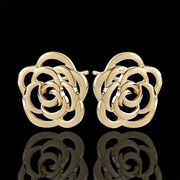 Kolczyki Rozkwit w kształcie kwiatów Couture - sztyfty - złoto żółte 9-karatowe