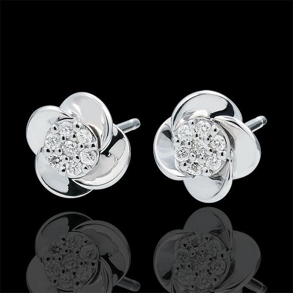 Kolczyki Rozkwit - Płatki Róży - złoto białe 9-karatowe