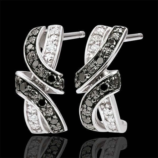 Kolczyki Światłocień - Randka - czarne diamenty - złoto białe 9-karatowe