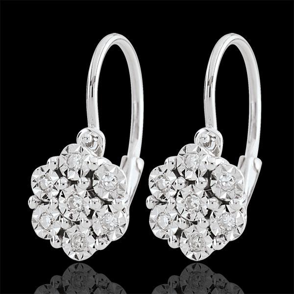 Kolczyki Świeżość - Płatkowy Kwiat - 14 diamentów i białe złoto 9-karatowe