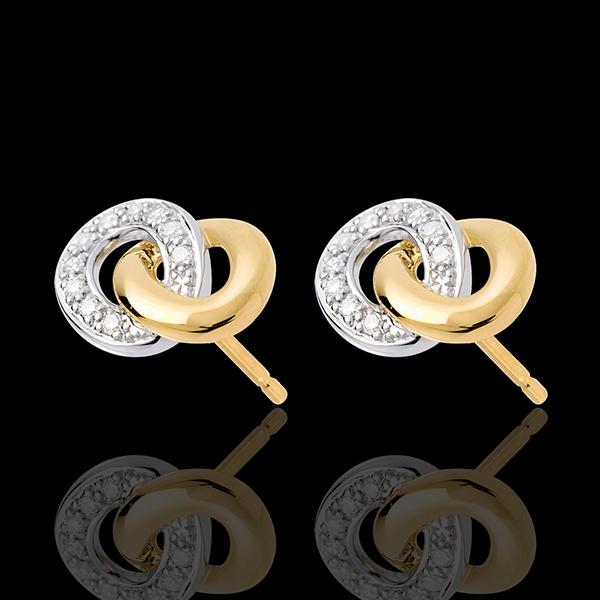 Kolczyki sztyfty z motywem splotu łańcuszkowego - 20 diamentów - złoto białe i złoto żółte 18-karatowe