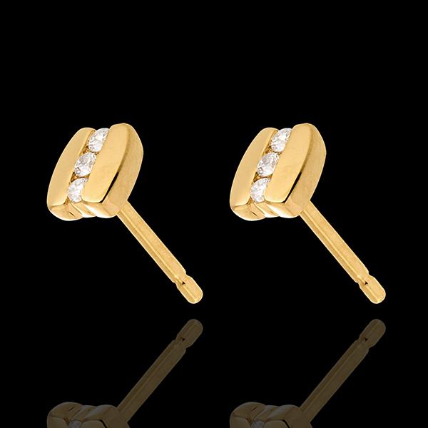 kolczyki z trzema diamentami z motywem nawiasu - sztyfty z żółtego złota 18-karatowego - 6 diamentów