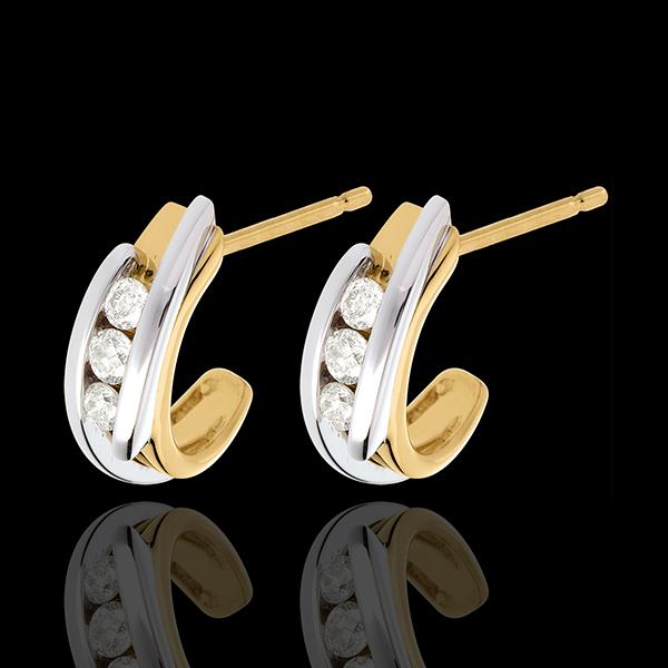 Kolczyki z trzema diamentami z zachodzącymi na siebie ramionami - 0,3 karata - 6 diamentów - złoto białe i złoto żółte 18-karato