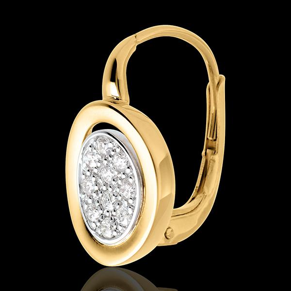 Kolczyki typu bigiel Alkowa z żółtego złota 18-karatowego i białego złota wysadzane diamentami - 0,24 karata - 20 diamentów