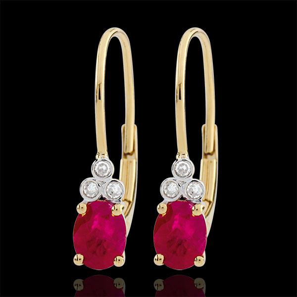 Kolczyki Wyszukane - rubiny i diamenty - złoto żółte 9-karatowe