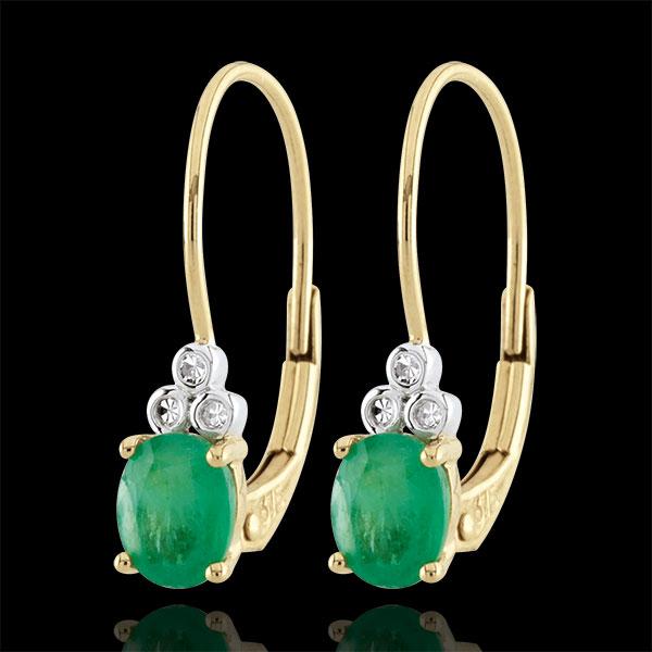 Kolczyki Wyszukane - szmaragdy i diamenty - złoto żółte 9-karatowe