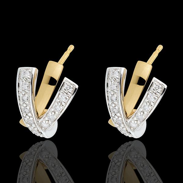 Kolczyki Zaborczość - złoto białe i złoto żółte 18-karatowe