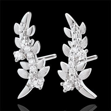 Kolczyki Zaczarowany Ogród - Królewskie Liście - złoto białe 18-karatowe i diamenty