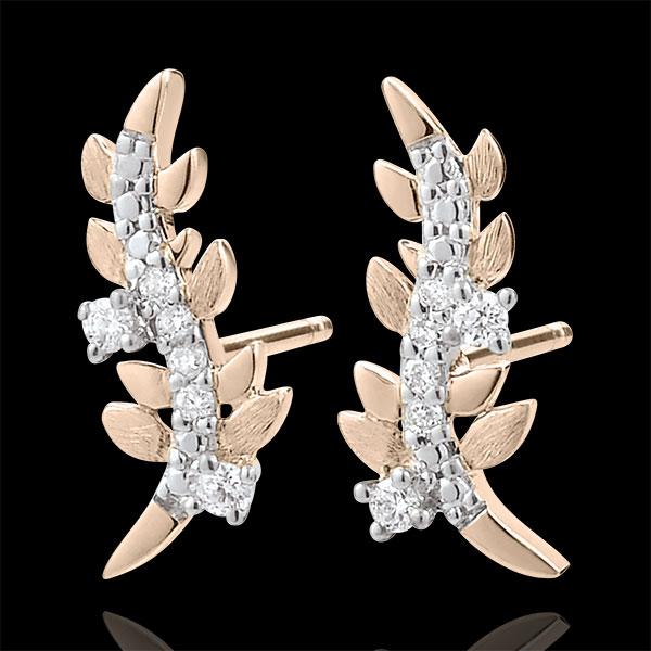 Kolczyki Zaczarowany Ogród - Królewskie Liście - złoto różowe 9-karatowe i diamenty