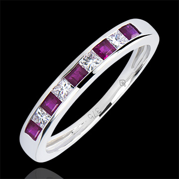 Kolorowa obrączka Pochodzenie – białe złoto 9-karatowe, różowe szafiry i diamenty