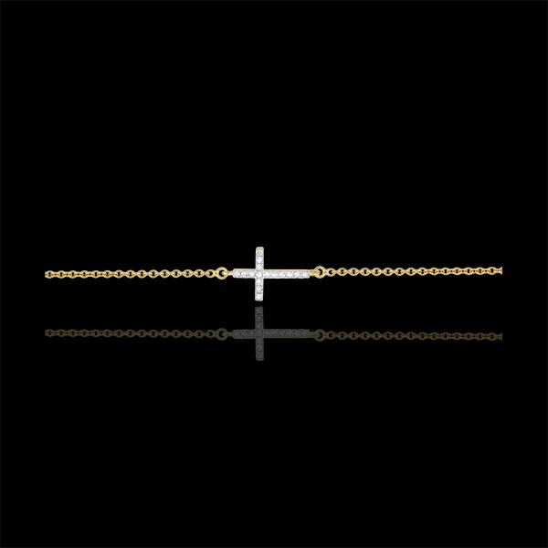 Kruis armband 18 karaat geelgoud met Diamanten