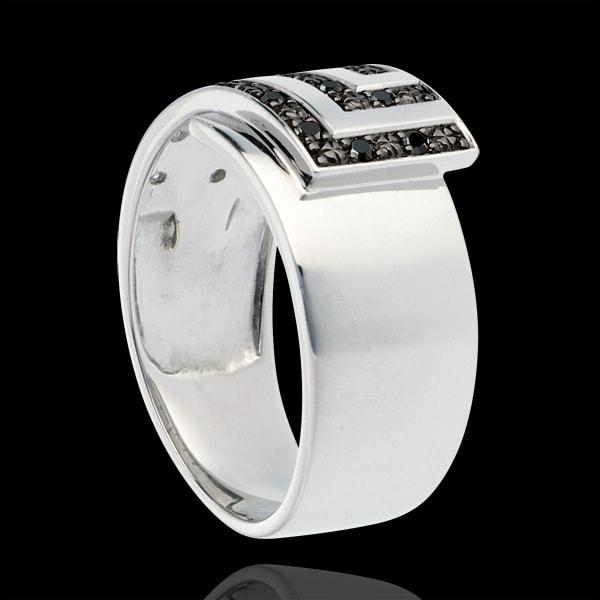 Kubieke ring 18 karaat witgoud en zwarte Diamanten