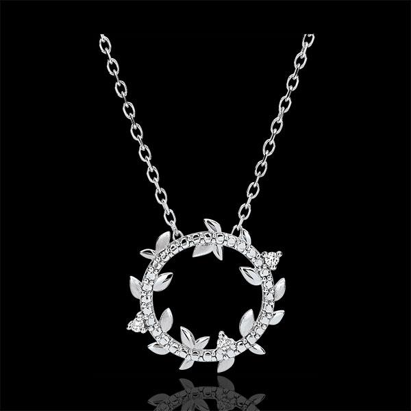 Lange Ketting Magische Tuin - Gebladerte Royal - 9 karaat Witgoud met Diamanten