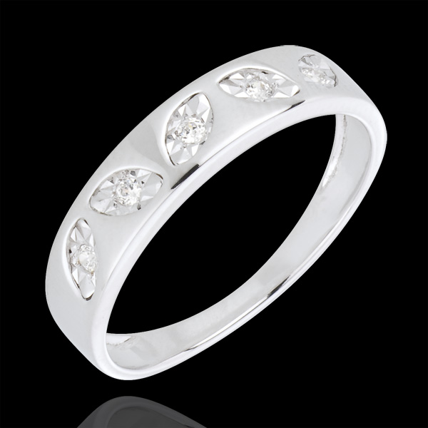 Leafy Ring - White Gold - 5 diamonds