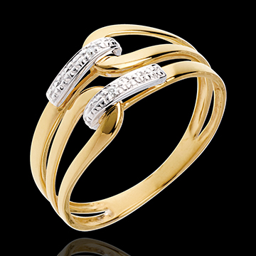 Loop ring yellow gold paved