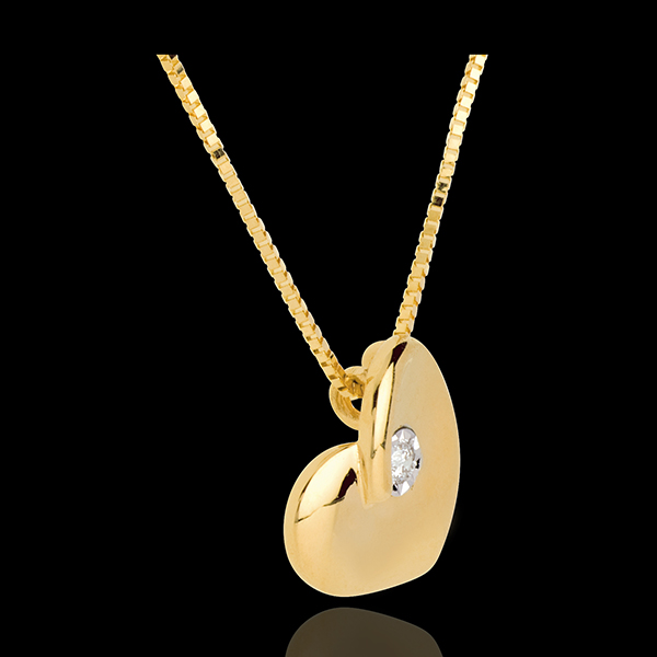 Lost heart necklace yellow gold with diamond