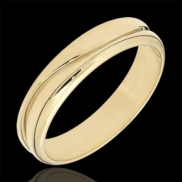 Love Ring - golden yellow wedding ring for men - 18 carat