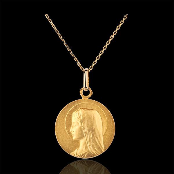 Masywny medalik z Matką Boską 20mm - złoto żółte 18-karatowe