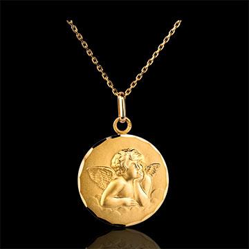 Medaglia con Angelo - classica - Oro giallo - 18 carati