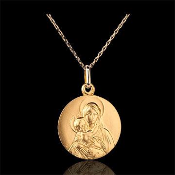Medaglia- Madonna con Bambino classica - Oro giallo - 9 carati - 18mm