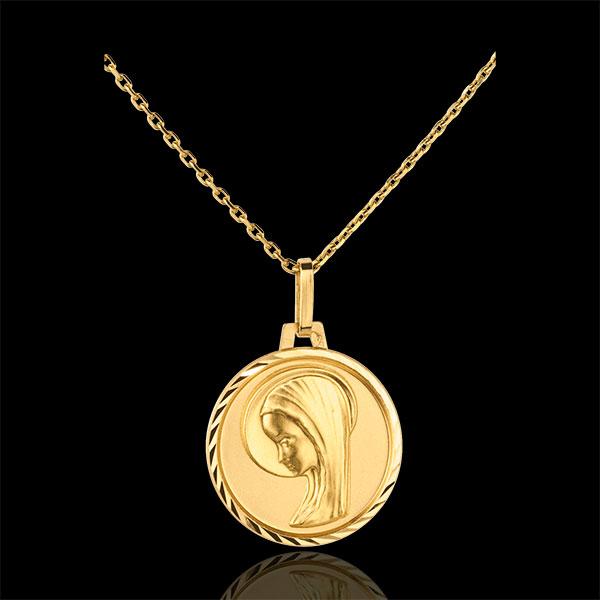 Medaglia Madonna - design moderno - bordi lavorati - 16 mm - Oro giallo - 18 carati