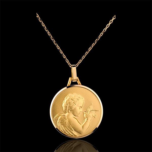 Médaille Ange à l'oiseau 20mm - or jaune 18 carats