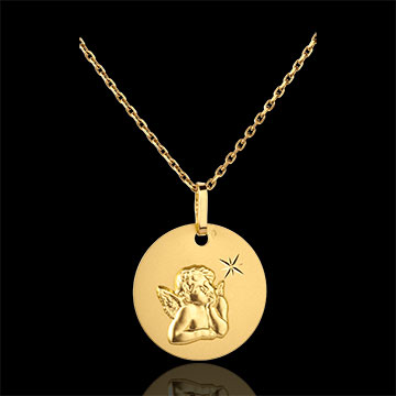 Médaille Ange Raphaël à l'étoile 16mm - or jaune 18 carats