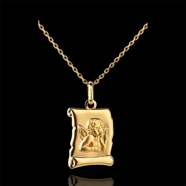 Médaille Ange Raphaël parchemin - or jaune 18 carats