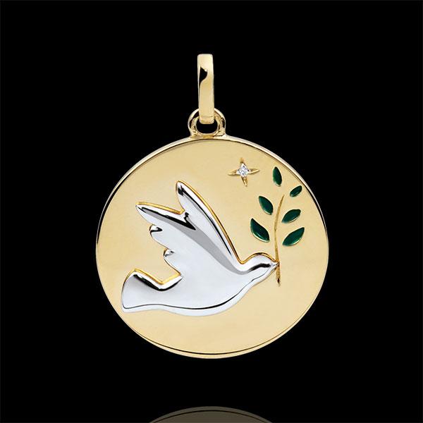Médaille Colombe au rameau - Laque verte - 1 Diamant - or blanc et or jaune 9 carats