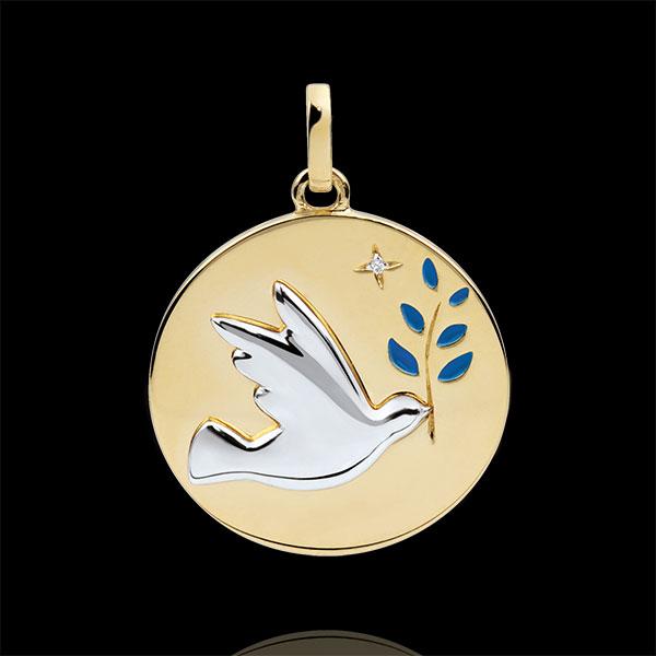 Medaille Duif en Olijftak - Blauwe Lak - 1 Diamant - 9 karaat witgoud en geelgoud