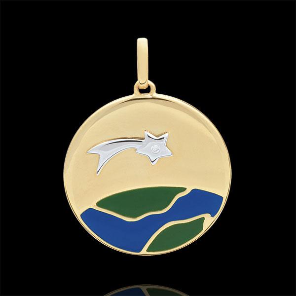 Médaille Une Etoile est née - Laque verte et bleue - 1 Diamant -18 carats