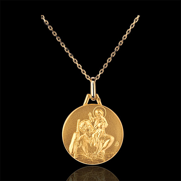 Médaille Saint Christophe ronde 18mm - or jaune 18 carats