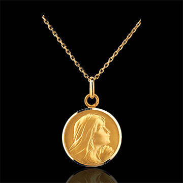 Médaille Vierge priant 16mm - or jaune 18 carats