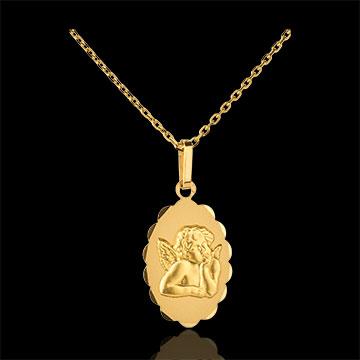 Medalik z archaniołem Rafaelem o kwiatowym brzegu - złoto żółte 18-karatowe
