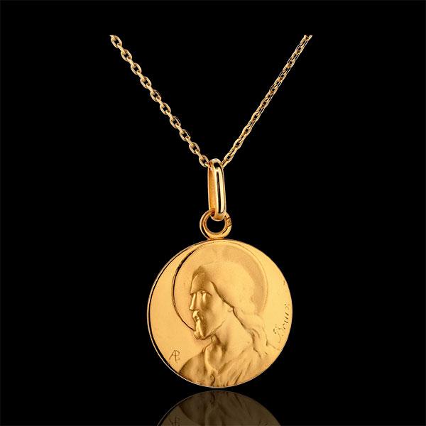 Medalik z Chrystusem - złoto żółte 18-karatowe