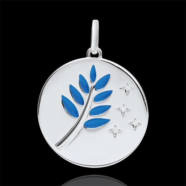 Medalik Gałązka Oliwna - Niebieska laka - 4 diamenty - złoto białe 9-karatowe