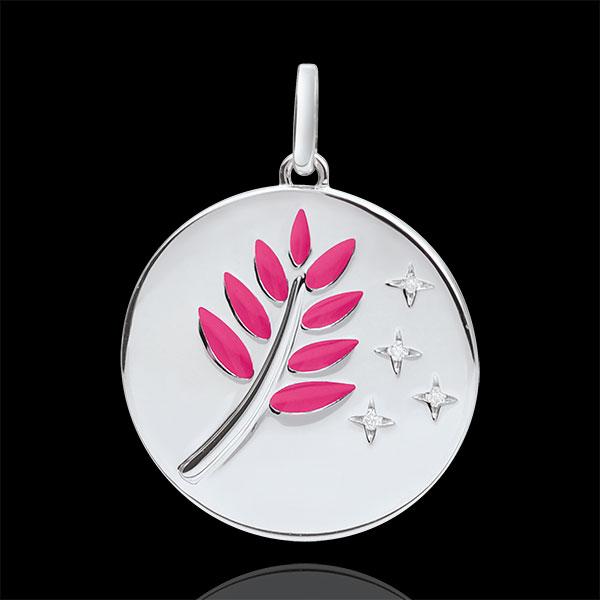 Medalik Gałązka Oliwna - Różowa laka - 4 diamenty - złoto białe 9-karatowe