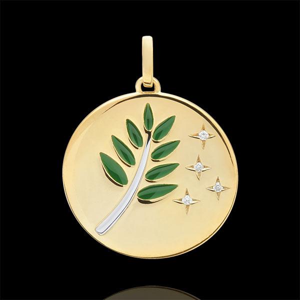Medalik Gałązka Oliwna - Zielona laka - 4 diamenty - złoto białe i złoto żółte 18-karatowe