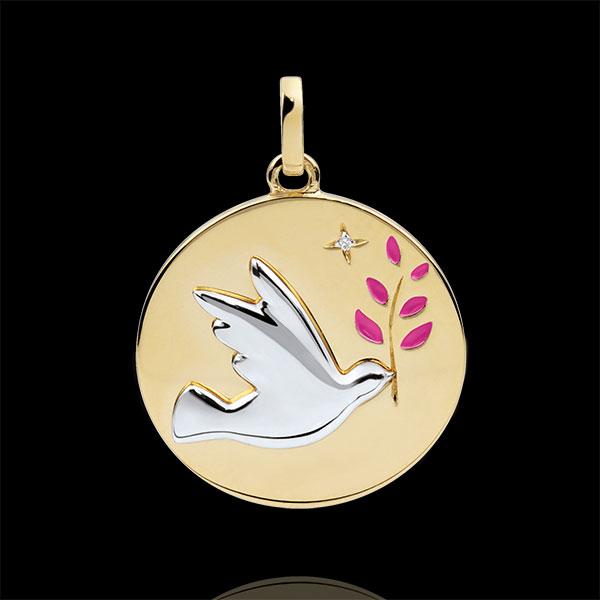 Medalik Gołębica na gałęzi - Różowa laka - 1 diament - złoto białe i złoto żółte 9-karatowe