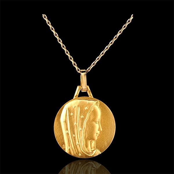 Medalik z Matką Boską w gwieździstym welonie 18mm - złoto żółte 18-karatowe
