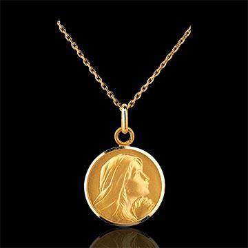 Medalik z modlącą się Matką Boską 16mm - złoto żółte 18-karatowe