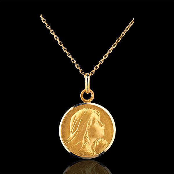 Medalik z modlącą się Matką Boską 18mm - złoto żółte 9-karatowe