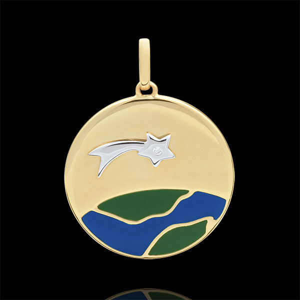 Medalik Narodziny Gwiazdy - Laka zielona i niebieska - 1 diament - złoto białe i złoto żółte 9-karatowe