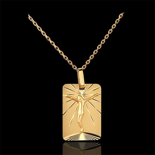 Medalik prostokątny z Chrystusem - złoto żółte 18-karatowe
