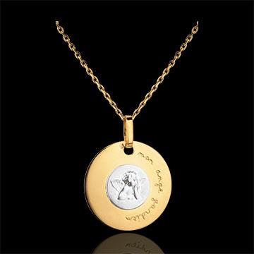 Medalion modern, gravat cu Arhanghelul Rafael 18mm - aur alb şi aur galben de 18K