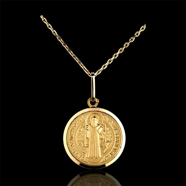 Medalion reprezentându-l pe Sfântul Bendict 16mm - aur galben de 18K